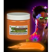 12 Units of Glominex Glow Body Paint 8oz Jar - Orange