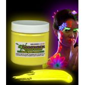 12 Units of Glominex Glow Body Paint 8oz Jar - Yellow