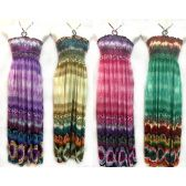 48 Units of Long Tube Dress Tie Dye Effect with Neck Tie