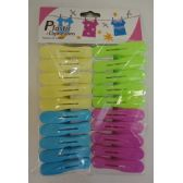 36 Units of 20pc Colored Plastic Clothespins - CLOTHESPINS/LAUNDRY ACC