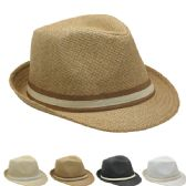 24 Units of Fashion Straw Fedora Hat With Band (Assorted Colors) - Fedoras, Driver Caps & Visor