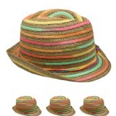 24 Units of Striped colored Fedora Hat