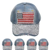 24 Units of AMERICAN FLAG ONE COLOR CAP - Hats With Sayings