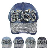 """24 Units of """" BOSS"""" Printed Cap - Hats With Sayings"""