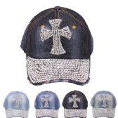 24 Units of RHINESTONE CROSS CAP - Hats With Sayings