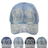 """24 Units of """"BOSS"""" Printed Cap - Hats With Sayings"""