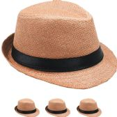 24 Units of KID FEDORA HAT IN TAN - Fedoras, Driver Caps & Visor