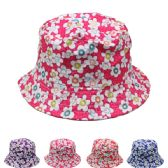 72 Units of GIRLS' FLORAL SUMMER HAT, ASSORTED COLORS - Bucket Hats