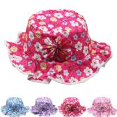 72 Units of KID FLORAL SUMMER HAT IN ASSORTED COLORS - Bucket Hats