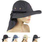 24 Units of MEN'S SUMMER HAT WITH KNECK COVER ASSORTED - Cowboy & Boonie Hat