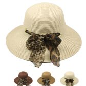 24 Units of WOMEN'S SUMMER BUCKET HAT WITH ANIMAL PRINTED BOW - Bucket Hats