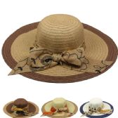 24 Units of WOMEN'S SUMMER HAT TWO TONED WITH BOW - Sun Hats