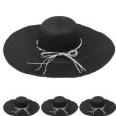 24 Units of WOMEN'S STRAW SUMMER HAT IN BLACK - Sun Hats