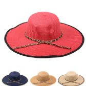 24 Units of PLAIN WOMANS SUMMER HAT WITH BOUND EDGE AND RIBBON - Sun Hats