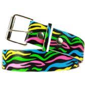 36 Units of Color Wave Printed Belt - Uni Sex Fashion Belts