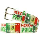36 Units of Adult Unisex Mexican Pride Printed Belt - Uni Sex Fashion Belts