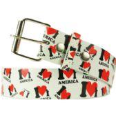 """36 Units of Adult Unisex """"I Love America"""" Printed Belt - Uni Sex Fashion Belts"""