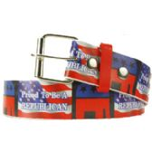 144 Units of Adult Unisex Republican Printed Belt - Unisex Fashion Belts