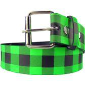 36 Units of Adult Unisex Green Checkerboard Belt - Uni Sex Fashion Belts
