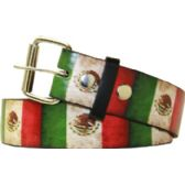 36 Units of Adult Unisex Mexico Flag Printed Belt - Uni Sex Fashion Belts