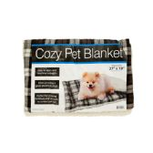 12 Units of Cozy Plaid Pet Blanket with Fleece Padding - Pet Accessories