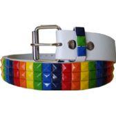 60 Units of Adult Unisex Studded Belt Rainbow - Uni Sex Fashion Belts