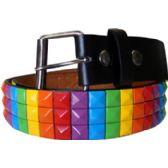 60 Units of Adult Unisex Rainbow Studded Belt - Uni Sex Fashion Belts