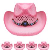 24 Units of Two Tone Pink Cowboy Hat - Cowboy & Boonie Hat
