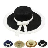 24 Units of Women's Dual Colored Summer Hat With Bow Assorted - Sun Hats
