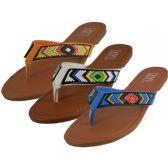 Wholesale 36 Units of Women's Beaded Patterns Flip Flops