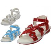 24 Units of Toddlers 3 flowers Top With Side Velcro Sandals - Toddler Footwear