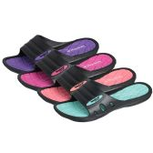36 Units of Women's Pastel And Black Slipper With Isadora logo. Sizes & colors assorted per case.