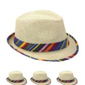24 Units of Straw Fedora Hat With Color Band - Fedoras, Driver Caps & Visor
