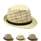 24 Units of ASSORTED COLOR CHECKERED STRAW FEDORA HAT