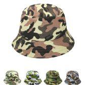 24 Units of Women's Camo Bucket Sun Hat Assorted - Sun Hats