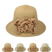 24 Units of Women's Bucket Summer Hat With Flower Assorted - Sun Hats