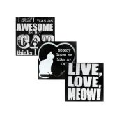 24 Units of Black & White Wooden Cat Sign