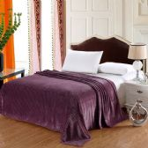 12 Units of The Premium Collection 100% Polyester Full Size Blankets Purple - Bedding Sets