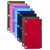 120 Units of 3 Ring Binder Pencil Case - 8 Colors - Clipboards and Binders