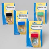144 Units of Paper Clips With Holder 25pcs W/4ast Color Covers Gov Stationary Blister Card