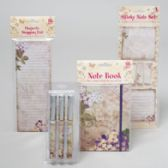 96 Units of Stationary Shipper 4asst Floral Notebook/shopping List/3pk Pen/ Sticky Note Spring Print 48pcp - Sticky Note & Notepads