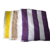 48 Units of 28x58 Terry Striped Velour Cabanna Beach Towel - Towels