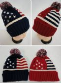 36 Units of Toboggan Hat with Pompom [American Flag]