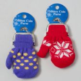 48 Units of Mitten Coin Purse 4.5 X 3.5in Asst Colors On 12pc Mdsg Strip Tie On Card - Coin Holders/Banks/Counter