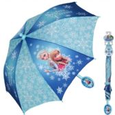 "12 Units of Disney's Frozen ""Sisters Forever"" Elsa & Anna blue umbrella with easy grip handle and velcro strap closure - Umbrellas & Rain Gear"