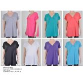 72 Units of Womens Fashion Solid Color Tops Assorted Sizes - Womens Fashion Tops