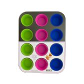 6 Units of Muffin Baking Pan with Silicone Cups - Frying Pans and Baking Pans