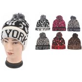"72 Units of Unisex Fashion Cheetah Print ""New York"" Heavy Knit Hats"