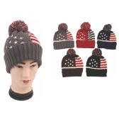 72 Units of Mens American Flag Beanie Hat