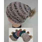 12 Units of Ladies Knitted Hat with Fur PomPom [Variegated]